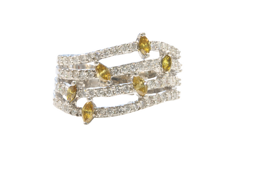 Yellow and white diamond strand ring
