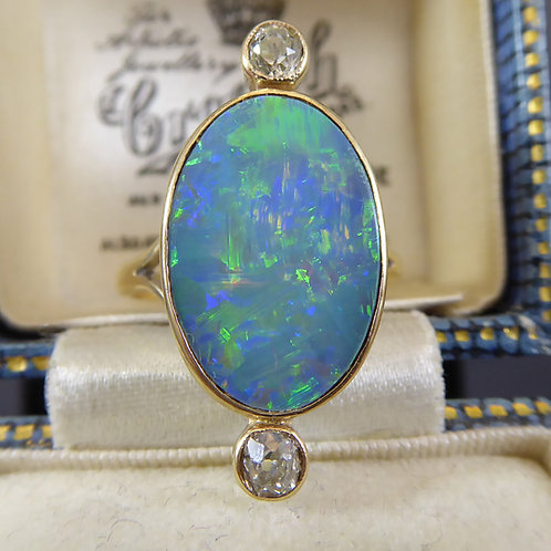 Vintage Black Opal and Diamond Ring, Yellow Gold