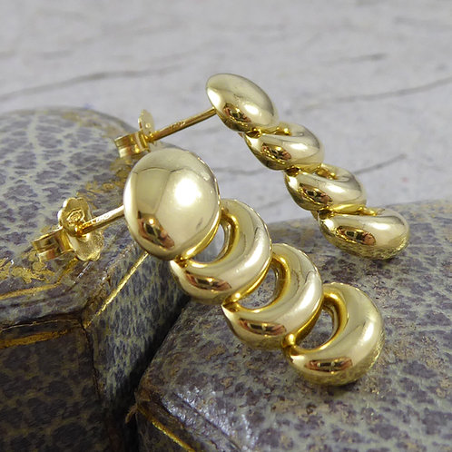 Contemporary Design Drop Earrings, 18ct Yellow Gold
