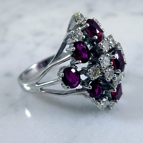 Vintage Ruby and Diamond Cluster Ring, White Gold, Circa 1980s