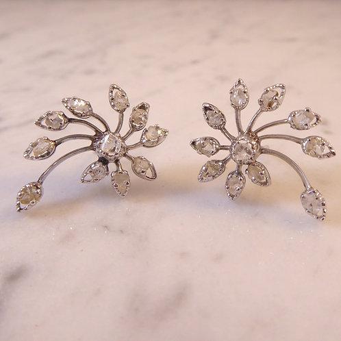 Vintage Diamond Earrings in Floral Spray Design