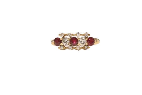 Ruby and diamond triple row ring