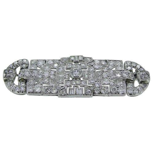 Art Deco 4.39 Carat Diamond French Plaque Brooch, Platinum