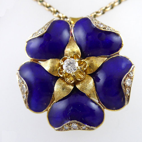 Vintage 1970s Tudor Rose, Blue Enamel and Diamonds, Gold Chain