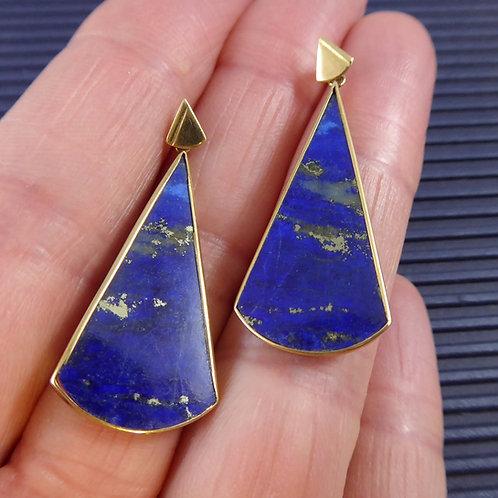 Contemporary Designer Drop Earrings with Lapis Lazuli