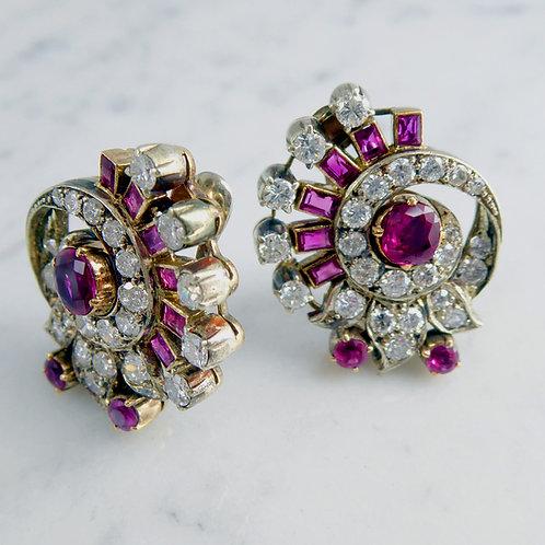 Art Deco 2.20 Carat Diamond and Ruby Earrings, Clip On Hinged Backs