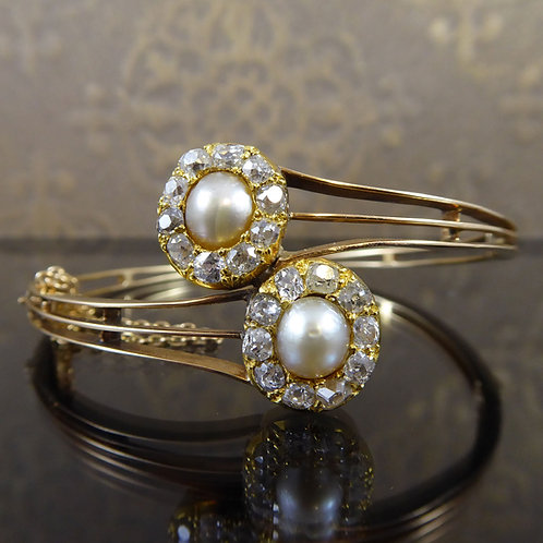 Antique Diamond and Pearl Double Cluster Bangle, Victorian Era