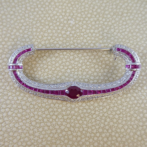 1.70 Carat Ruby and Diamond Modern Brooch in Crescent Style, 18 Carat White Gold