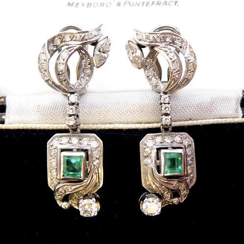 2.0 Carat Old Cut Diamond and Emerald Earrings, Drop Style for Pierced Ears