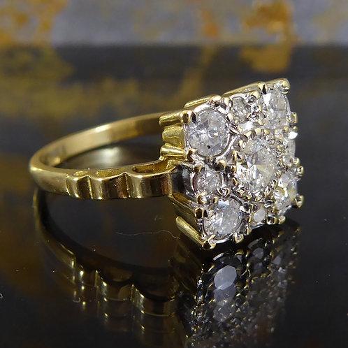 Vintage 0.68 Carat Diamond Cluster Ring, Yellow Gold