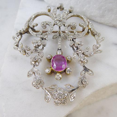 Edwardian 2.0 Carat Diamond Brooch with 1.04 Carat Pink Sapphire, Circa 1900s