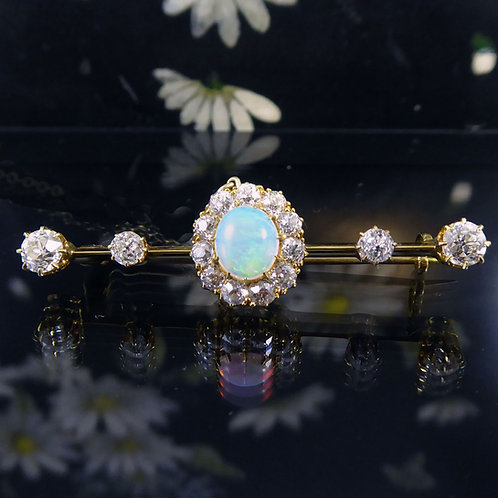 Late Victorian Opal and Diamond Bar Brooch, Tests as 18ct Yellow Gold