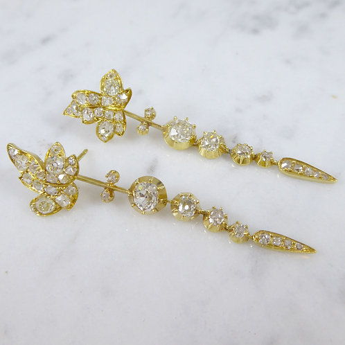 """Victorian Diamond """"Day and Night"""" Earrings in Yellow Gold"""