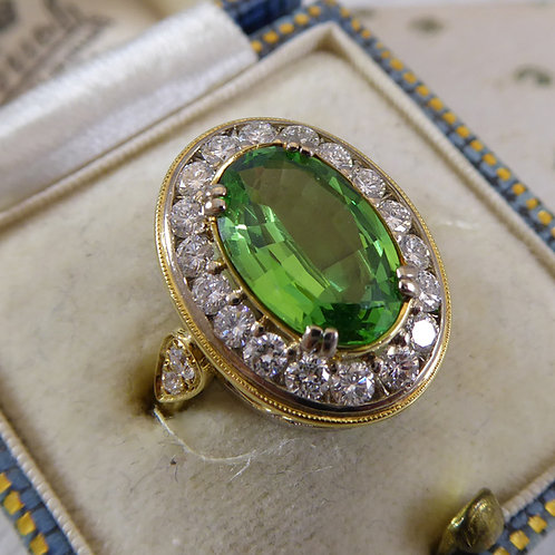 Vintage 2.20 Carat Green Garnet and Diamond Cluster Ring,