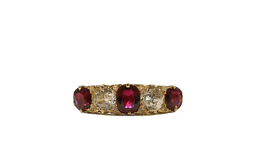 Antique Ruby and Diamond five stone