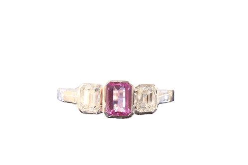 0.57ct Pink sapphire and diamond three stone
