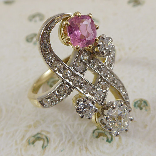 1930's Pink Tourmaline and Diamond Dress Ring, French