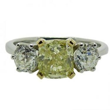Vintage natural Yellow and White Diamond Three Stone Ring