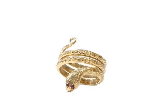 Ruby eyed snake ring
