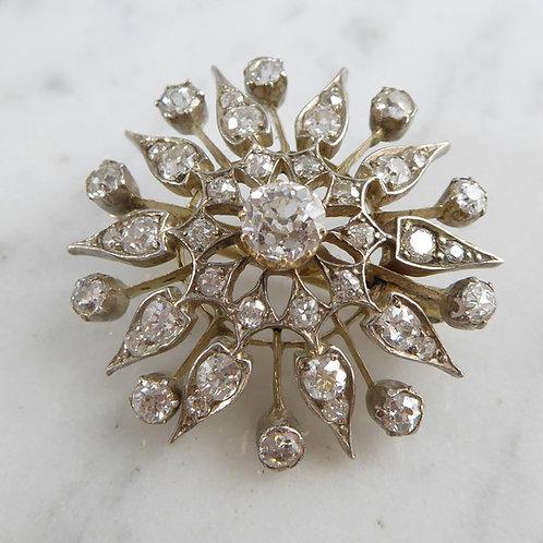 Antique Victorian Old European Cut Diamond Brooch