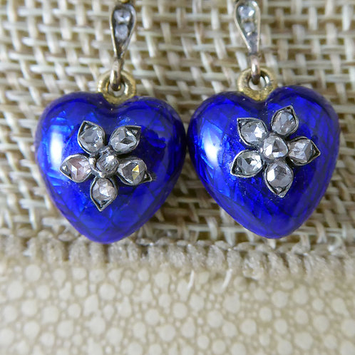 Antique Victorian Heart Shaped Earrings, Rose Cut Diamond and Blue Enamel