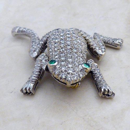 Diamond set Frog brooch
