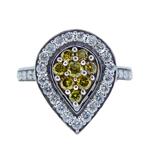 Modern Pre-owned Yellow and White Diamond Cluster Ring, Pear Shape Cluster