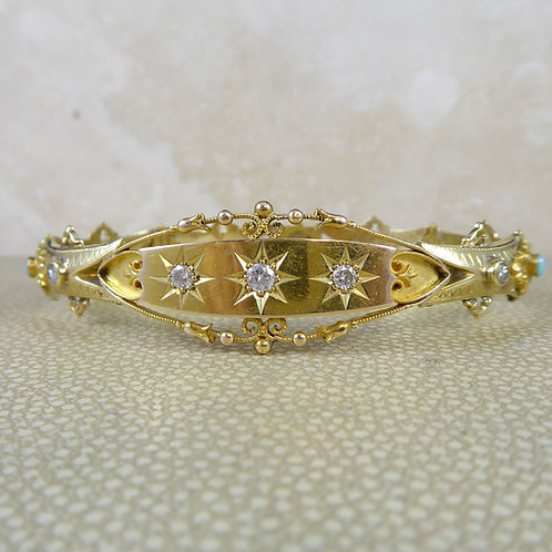 Antique Victorian Diamond and Opal Bracelet, Circa 1890s