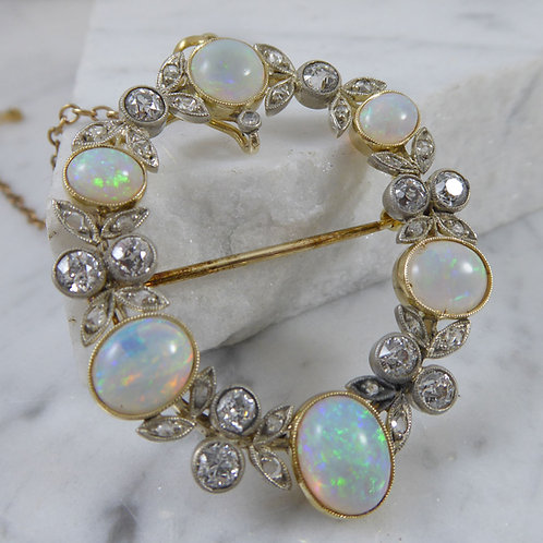 Late Victorian and Opal Diamond Brooch