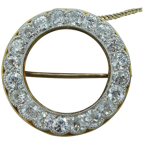 Antique Diamond Circle Brooch with Old Cut Diamonds