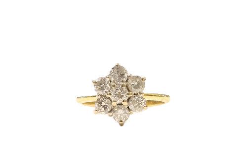 Diamond star cluster ring