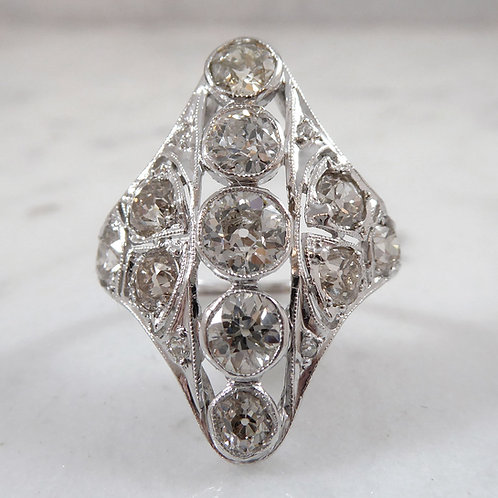 2.75 Carat Art Deco Diamond Ring,  Old Cut Diamonds, Platinum