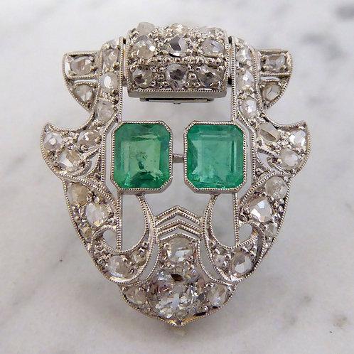 Art Deco Emerald and Diamond Lapel Pin