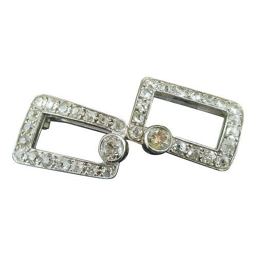 French Art Deco Diamond Brooch, 2.75 Carat, White Gold