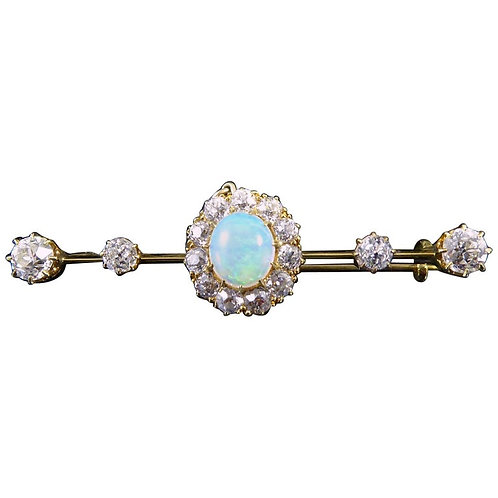 Late Victorian/Early Edwardian Opal and Diamond Bar Brooch, 15ct Gold and Silver