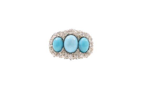 Turquoise and Diamond cluster ring