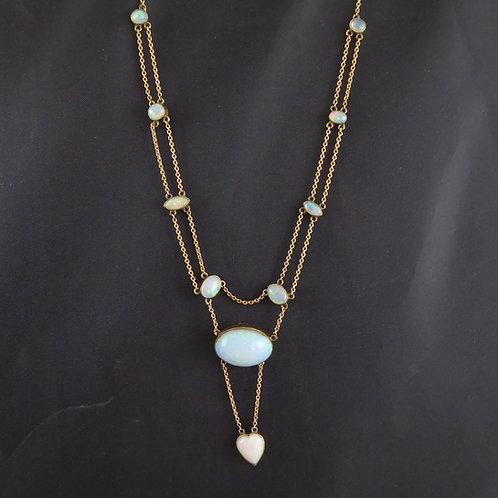 Art Nouveau Opal Necklace with Cabochon Cut Opals and Heart Shaped Opal Pendant