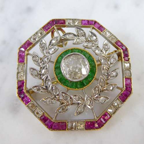 Antique Diamond Gem Set Brooch, circa 1890