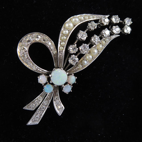 Vintage Brooch Set with Cabochon Opals, French Cut Diamonds and Pearls