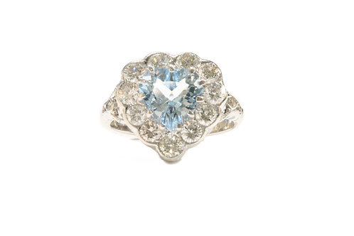 1.78ct Aquamarine and diamond cluster ring