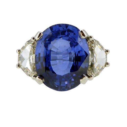 Sapphire and diamond three stone