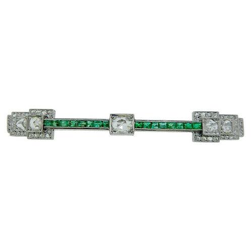 Art Deco Emerald and Diamond Brooch, Platinum