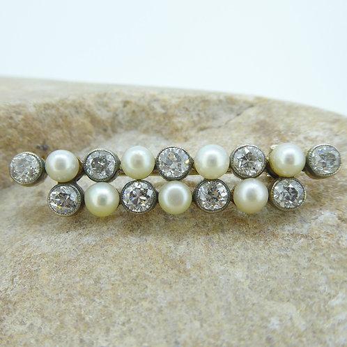 Victorian Diamond Pearl Brooch
