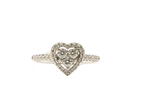 Diamond heart cluster ring