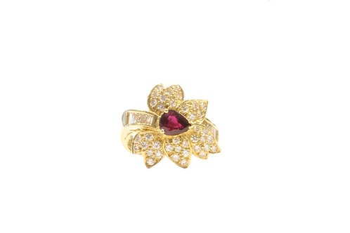 Ruby and diamond leaf ring
