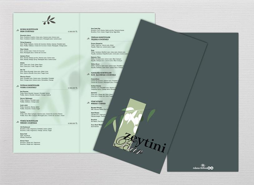 Adana Hilton menu tasarımı