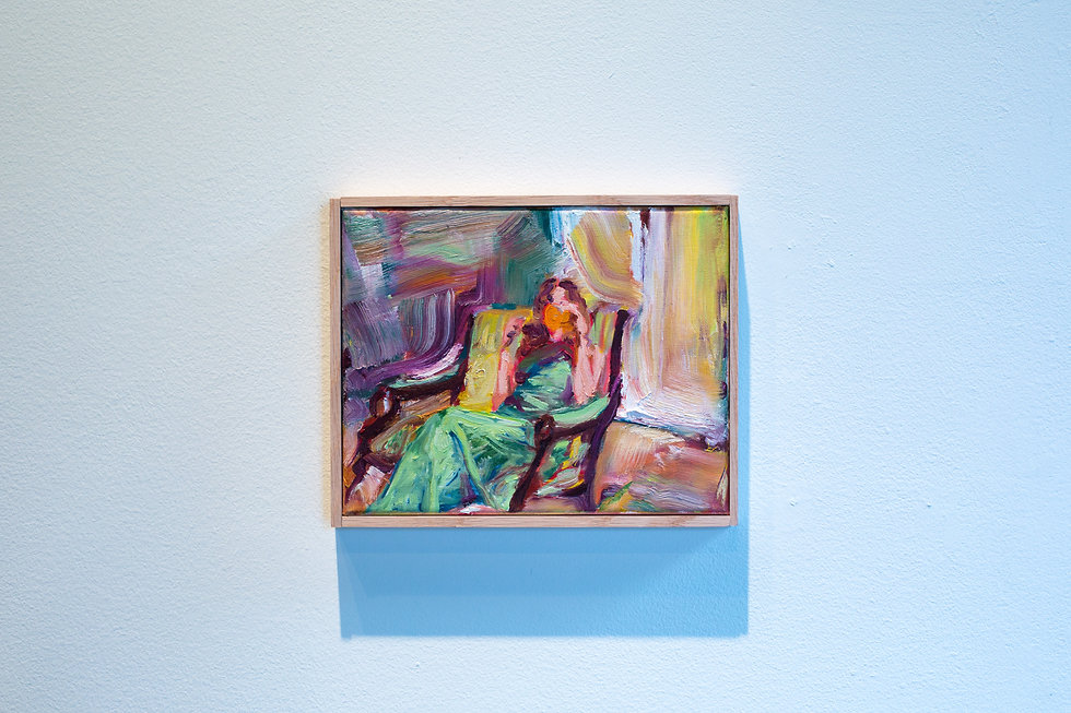 Oil painting of girl sitting on chair sipping a drink