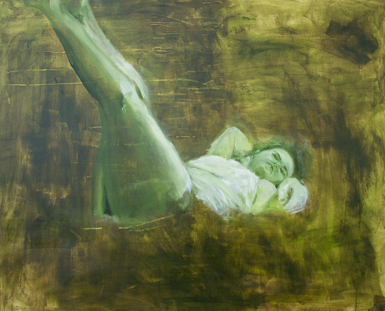 Oil painting of woman reclining on green