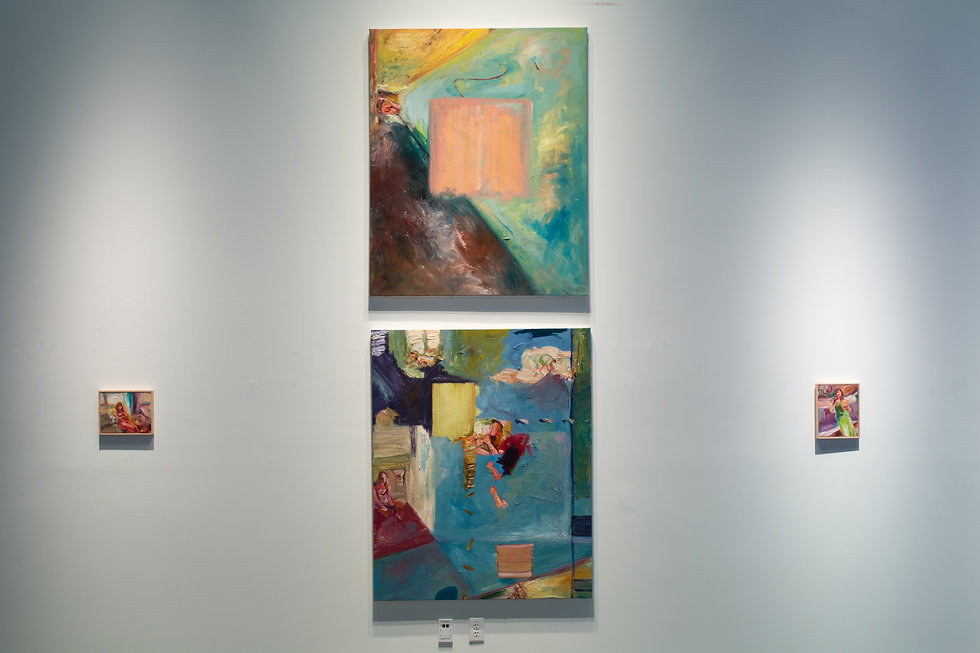 Oil paintings hanging on wall