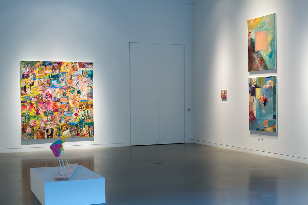 Gallery view of oil paintings and sculpture